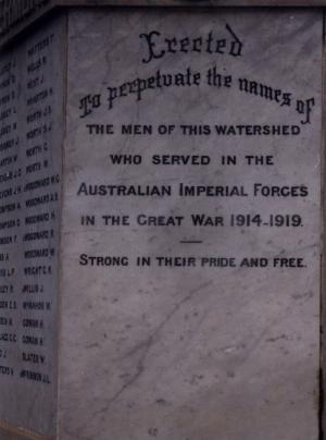 Names on the Memorial plaque